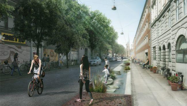 Il quartiere di Nørrebro con marciapiedi impermeabili grazie alla posa di una pavimentazione costituita da fori diffusi