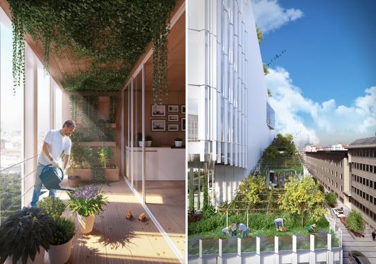 Le logge green e la spirale che caratterizza il progetto di riqualificazione urbana Vitae