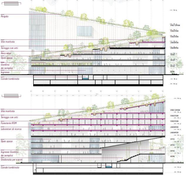 Sezione Nord e Sud del progetto Vitae a Milano