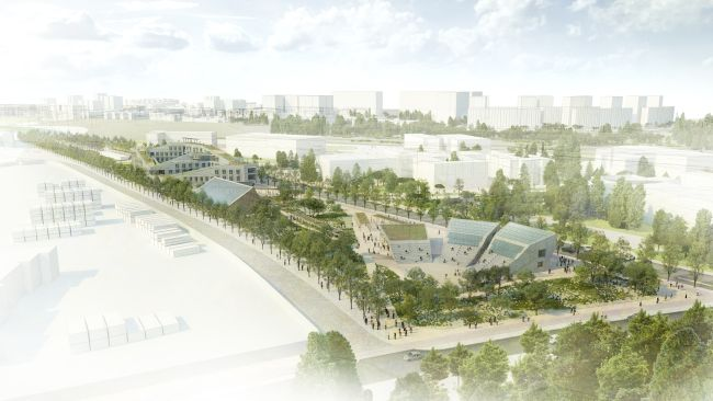 Reinventing Cities: Vista generale del complesso Campus for Living Cities a Vallecas, Madrid