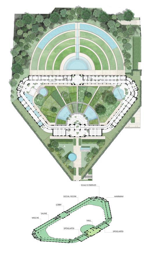 Il progetto Teatro delle Terme di Milano, suddivisione degli spazi