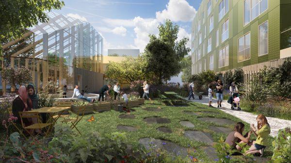 Il cortile di Urban Village, progetto reinventing citieas a oslo