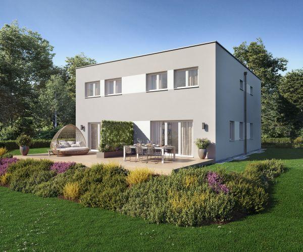 Casa bifamiliare prefabbricata in legno Duplex D110 di Vario Haus