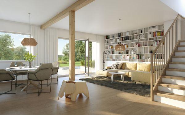 Casa bifamiliare prefabbricata in legno Duplex D113 di Vario Haus