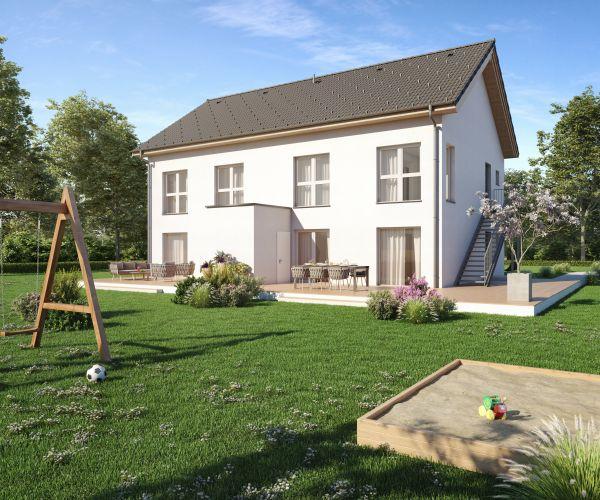 Casa bifamiliare prefabbricata in legno Duplex Trio di Vario Haus