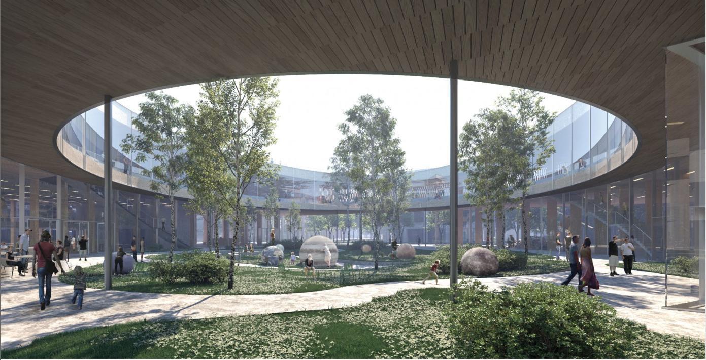 Nuovo museo della scienza in Svezia con l'atrio aperto