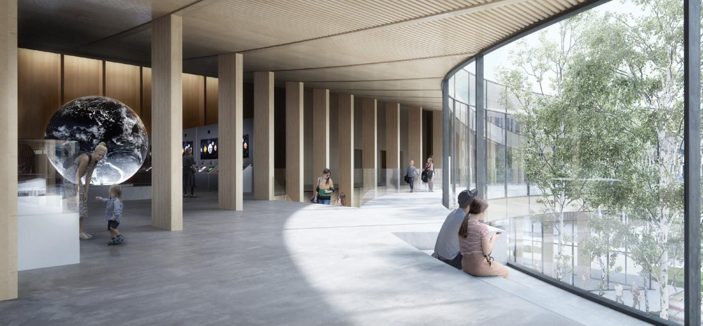 L'interno in legno e con grandi vetrate del nuovo museo della scienza in Svezia