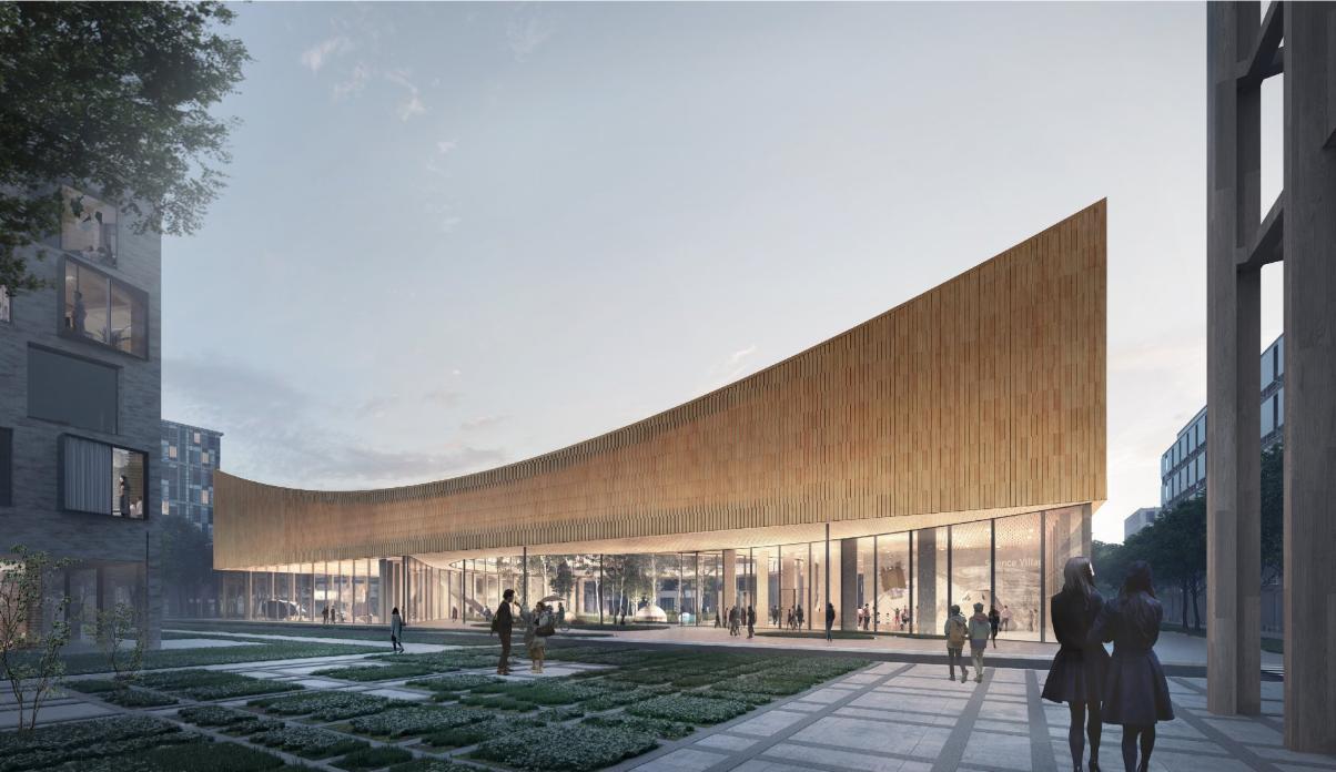 Esterno del nuovo museo della scienza in costruzione in Svezia
