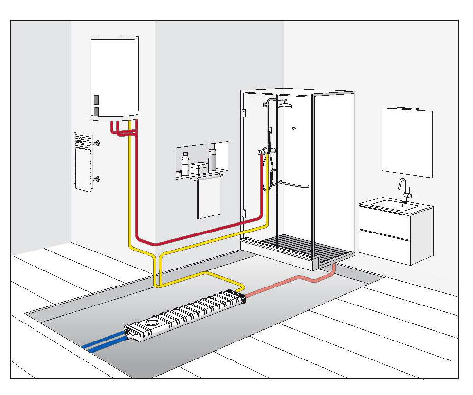 Ecoshower recuperatore di calore per scarichi idrosanitari - Schema impianto scarico bagno ...
