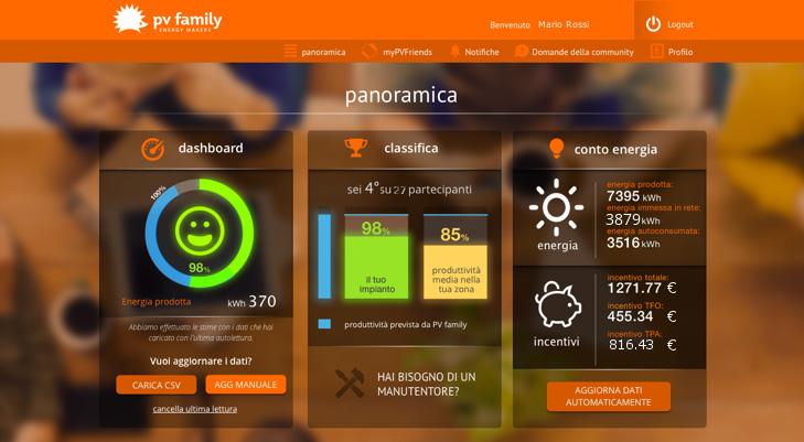 schermata dell'app My Solar Family