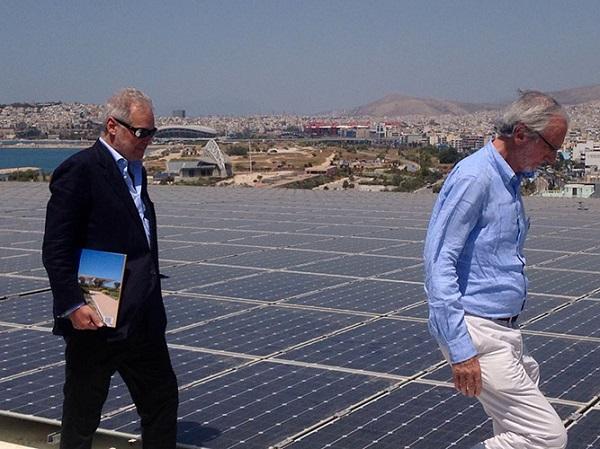 Renzo Piano e Pietro Salini sopra l'Energy Canopy