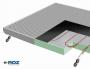 Sistema radiante RDZ a soffitto b!klimax+ con Quadrotti metallici HP e Copper 8