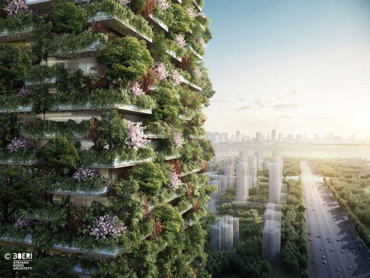 Render del Bosco verticale di Nanjing in Cina, progetto Stefano Boeri Architetti