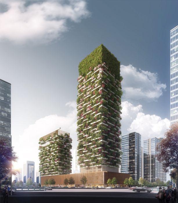 Rendering delle 2 torri del Bosco verticale di Nanjing in Cina