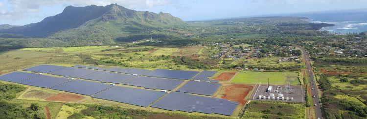 centrale solare sull'isola di Kauai nell'arcipelago hawaiano