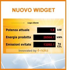 WIDGET di 4-NOKS per visualizzare i dati del proprio impianto fotovoltaico