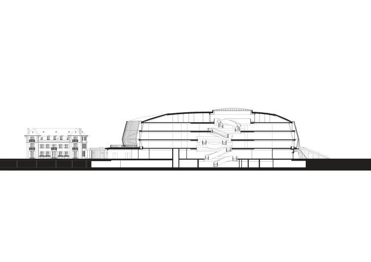 La sezione trasversale dell'Olympic House
