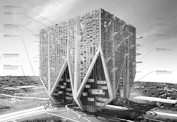 Progetto Car And Shell Skyscraper: Or Marinetti's Monster secondo premio Skyscraper Competition