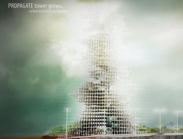 Progetto Propagate Skyscraper: Carbon Dioxide Structure terzo premio Skyscraper Competition