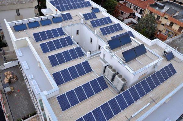 Complesso Solaria, Impianto fotovoltaico e pannelli solari termici sul tetto