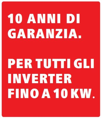 5 anni di garanzia gratis per gli inverter fino a 10 kW