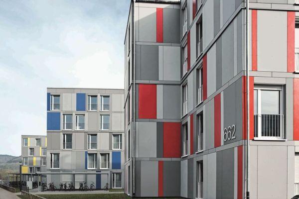 Progetto Residenze per studenti a Heidelberg. Finestre con sistemi in PVC SchücoAlu Inside.