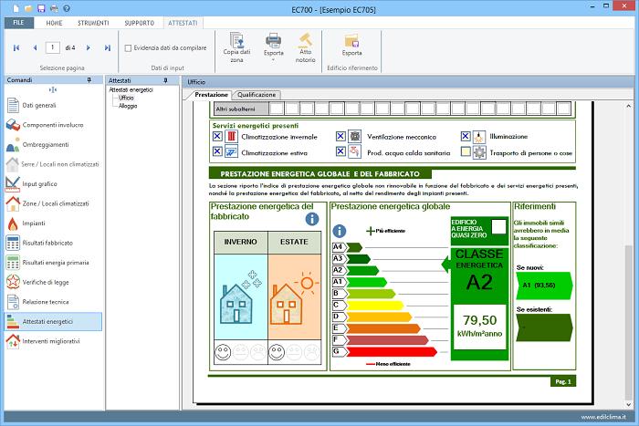 EC705: Software per attestato energetico