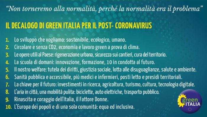 Il decalogo di green Italia per la fase 2 post coronavisrus