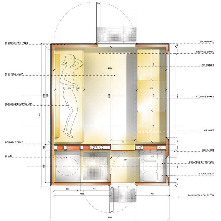 Pianta della Tiny house Diogene di Renzo Piano