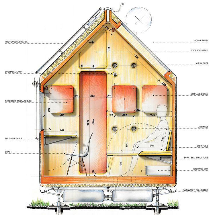 Sezione zona living della tiny house Diogene di Renzo Piano