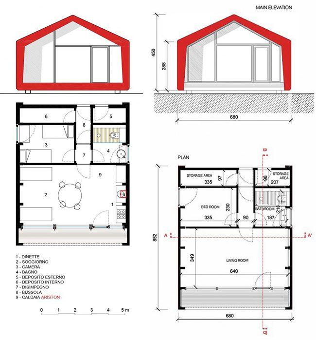 Frame Home: piante e sezioni