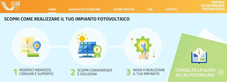 Lanciato dal GSE il Portale autoconsumo Fotovoltaico