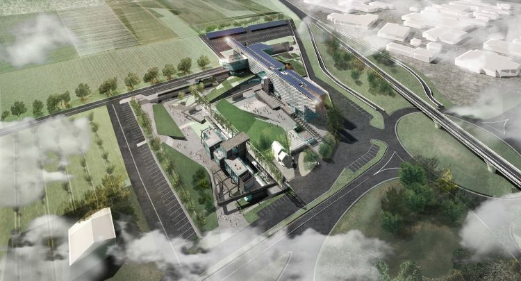 Render del masterplan della nuova sede di Tesisquare