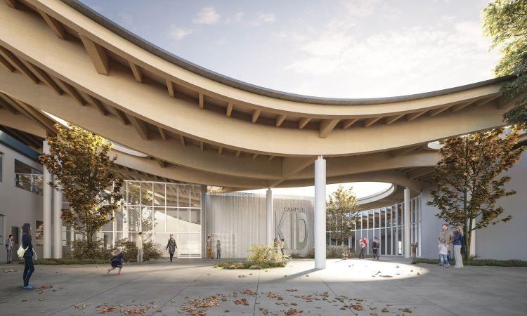 Render dell'ingresso con la copertura in legno ribassata della scuola di San Lazzaro di Savena