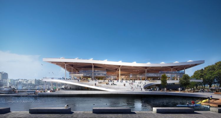 Render vista laterale Sidney Fish Market