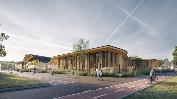 Render con vista dall'esterno del nuovo polo scolastico a San Lazzaro di Savena