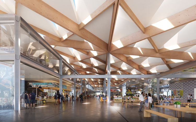 Render dell'interno del Sydney Fish Market