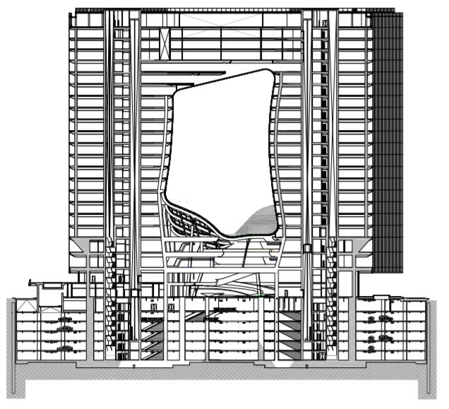 Stralcio della sezione trasversale dell'Opus di Dubai nel quartiere Burj Khalifa