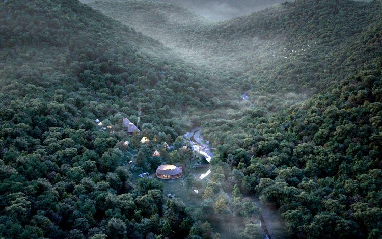 Render con vista dall'alto dell'Ugakei Circles