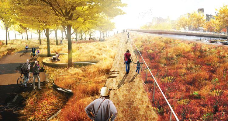 Il render del progetto Bridging Berm di The Big Team per la trasformazione di New York