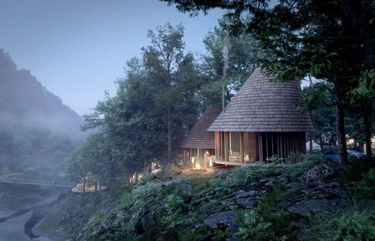 Ugakei Circles, Render delle cabine per tende glamping