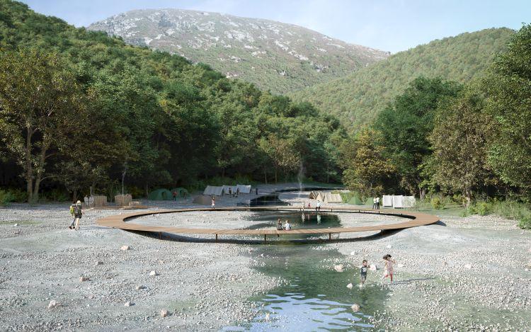 Render di uno dei campeggi dell'Ugakei Circles in Giappone