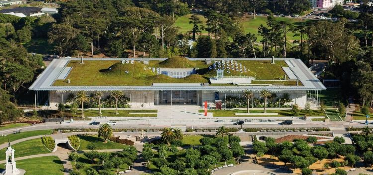 California Academy Of Sciences by Renzo Piano con green roof