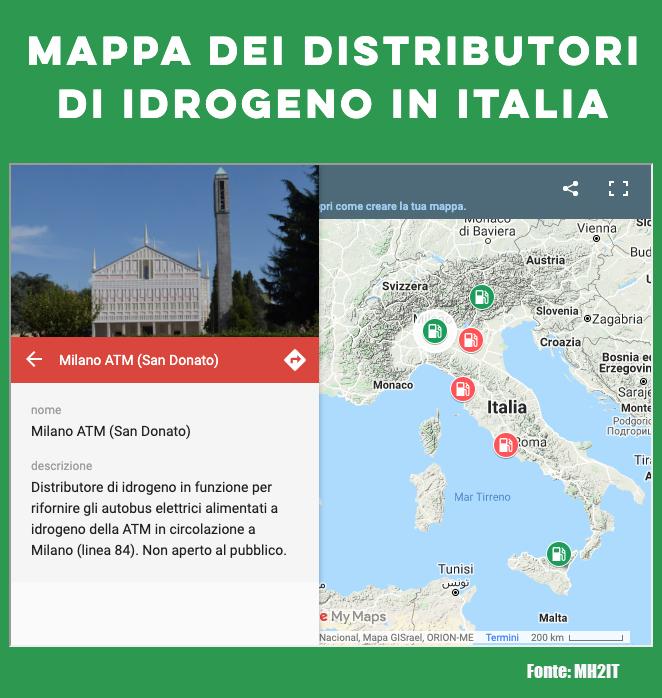 Mappa distributori idrogeno in Italia