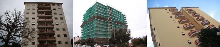 Edificio prima, durante e dopo l'intervento