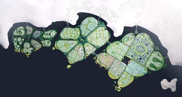 Le tre isole artificiali di Penang in malesia, progetto di BIG