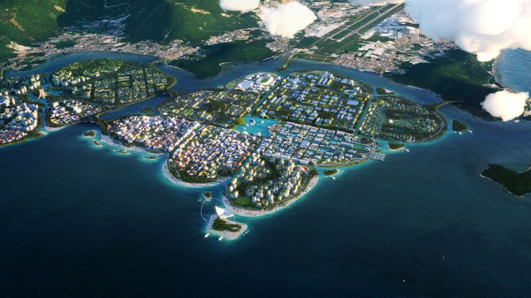 L'isola artificiale The Channels nell'ambito del progetto BiodiverCity a Penang, in Malesia