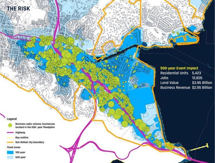 L'impatto a San Francisco dell'innalzamento delle acque nei prossimi 500 anni