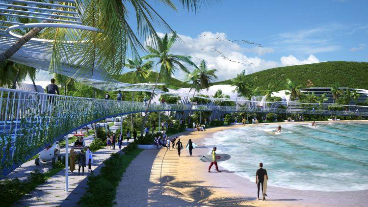 La spiaggia e l'area sportiva di BiodiverCity nell'ambito del progetto BiodiverCity a Penang, in Malesia