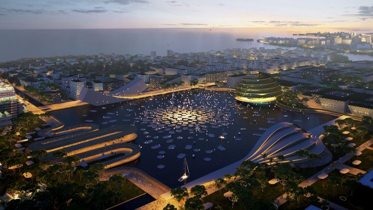 La piazza centrale di Mangroves nell'ambito del progetto BiodiverCity a Penang, in Malesia